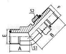 供应1FG445°弯美制ORFS外螺纹O形圈平面密封/ 英管外螺纹O形圈