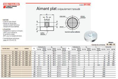 法国EMILE  圆柱型磁铁41-063-20  带螺杆   现货供应  多款规格