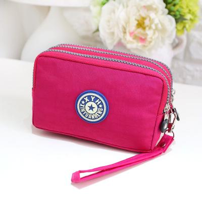 礼品定制三拉链尼龙布手机包 零钱钥匙包钱包来图加工女士手拿包