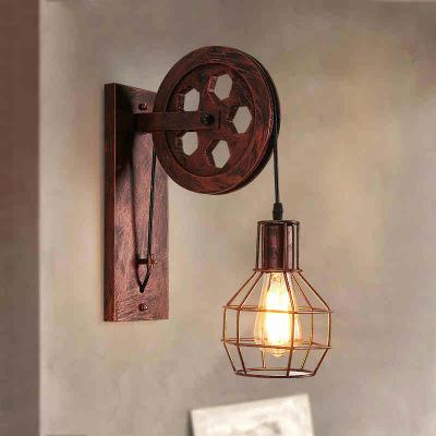 美式乡村壁灯工业风复古壁灯创意铁艺滑轮壁灯个性餐厅走廊过道灯