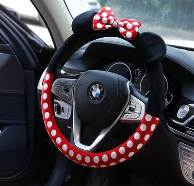 新款卡通毛绒方向盘套 创意秋冬汽车方向把手套 可爱女性车载用品
