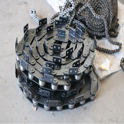 304不锈钢非标链条 耐高低温16A单侧弯板链条 大滚珠12A输送链条