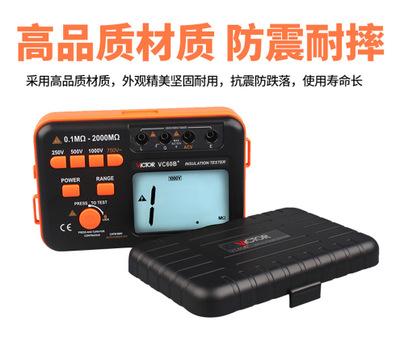 胜利绝缘电阻兆欧表数字绝缘摇表防雷测试仪表高精度VC60B/D+