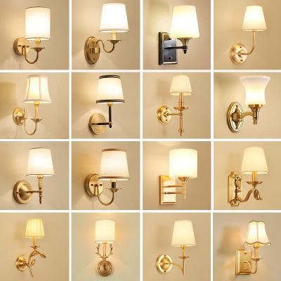 美式乡村全铜壁灯纯铜客厅背景墙卧室床头灯简约现代走廊过道灯具