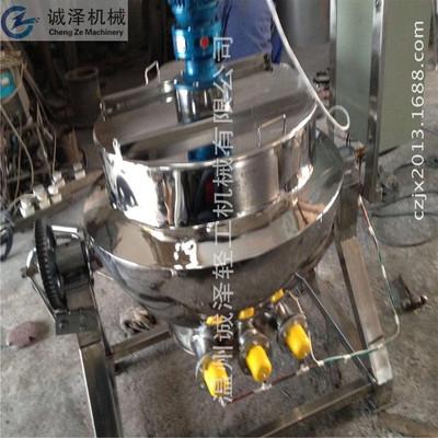 厂家直销不锈钢小型夹层锅、可倾式搅拌乳化蒸汽加热电加热夹层锅