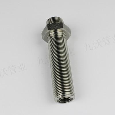 九沃6007快接液压三通O形圈平面密封固定型外螺纹接头液压管件