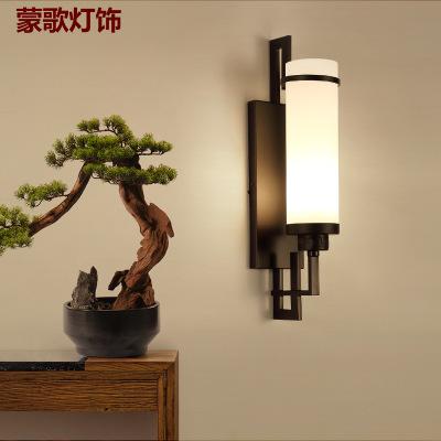新中式壁灯阳台过道走廊楼梯壁灯仿古黑色卧室客厅背景墙工程壁灯