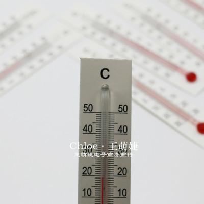 10.5cm X 2cm小纸片温度计 小型 玻璃不干胶 C字温度计 工艺品