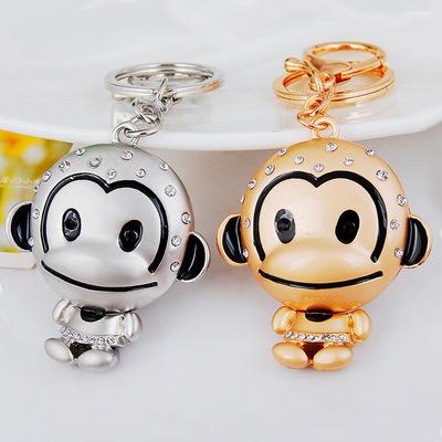 热销生肖韩版挂件 高档镶钻哑金银猴子包配饰汽车创意钥匙扣挂件