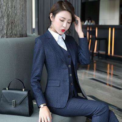 秋冬季新款条纹职业三件套气质西装套装女装ol工作服厂家一件代发