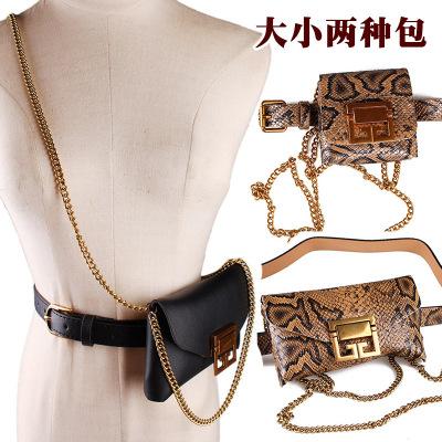 外贸蛇纹腰包腰带女可拆卸装饰链条单肩斜挎手机小包包皮带蛇皮纹