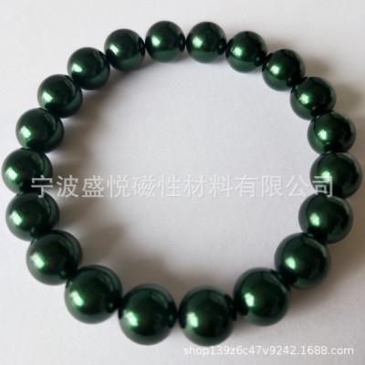 厂家直销D10mm磁疗石手链墨绿色磁珠  艾灸石稀土无绳手链 磁能石