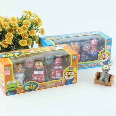 韩国pororo啵乐乐玩具回力车 卡通车辆回力儿童玩具套装