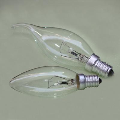 白炽灯泡15W25w40W磨砂蜡烛灯泡螺口尖泡拉尾泡透明水晶灯灯泡