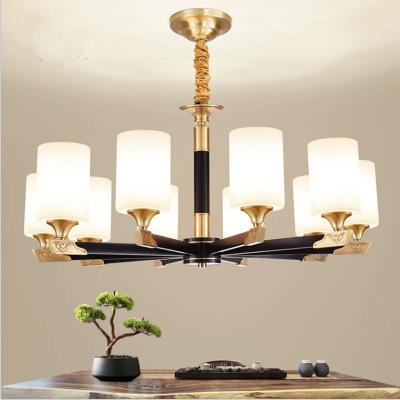 新中式吊灯大气家用全铜客厅书房吊灯别墅复式楼轻奢简约饭厅吊灯