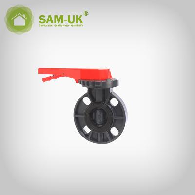 工业专用直角式PVC管件 碟阀手柄式蝶阀 手动换向PVC蝶阀厂家直销