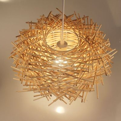 藤编吊灯东南亚风格田园餐厅卧室个性艺术吊灯创意鸟巢吊灯