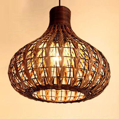 东南亚客厅餐厅卧室茶楼藤艺藤编装饰灯具咖啡厅创意灯饰单头吊灯