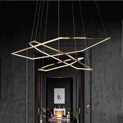 极简吊灯 LED创意挑高客厅灯装饰会所卧室多边形后现代吊灯