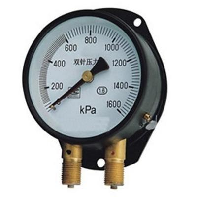 [金湖厂家]矿用耐震双针压力表、铁路双针压力表、消防水泵压力表
