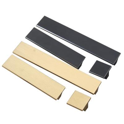 现代简约柜门拉手方形哑黑色拉边抽屉把手衣柜鞋柜铜色金色小拉手