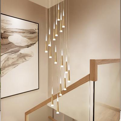 楼梯灯长吊灯复式楼客厅吊灯led后现代轻奢loft网红灯饰定制灯具