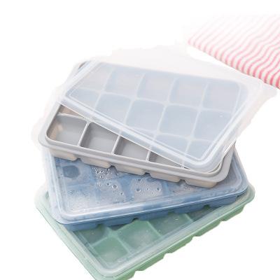 硅胶制冰块模具15格硅胶冰格带盖 DIY硅胶冰格 环保安全方形冰格