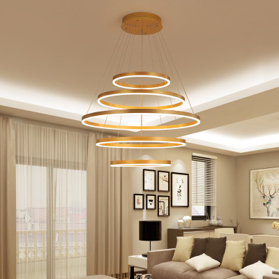 客厅吊灯简约现代led圆环形餐厅卧室ins网红灯饰创意个性书房灯具