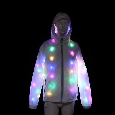 映秀厂家直销抖音同款LED发光衣服 服装夜店网红连帽男女发光外套