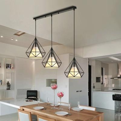 铁艺钻石吊灯 北欧250mm黑白色E27铁锈色创意loft铁笼六角餐吊灯