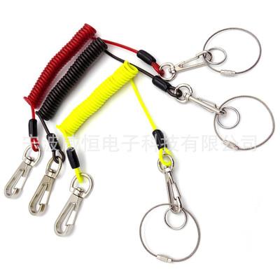 热销 彩色钢丝弹簧绳高空作业工具防坠落安全绳渔具安全挂钩绳索