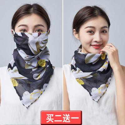 防晒口罩女防紫外线护颈丝巾夏季户外透气骑行遮阳面罩薄款易呼吸