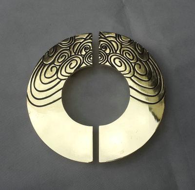 中式仿古玻璃大门拉手 圆形铝板拉手把手 酒店大门仿铜复古把手