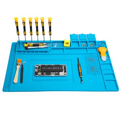 友福工具 耐高温硅胶台垫 手机维修工作垫防静电带磁性垫S-160