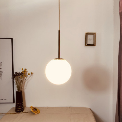 北欧卧室床头吊灯 现代简约餐厅吧台饭厅创意ins装饰玻璃圆球灯具