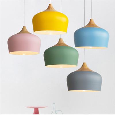 简约个性餐厅灯具锅盖单头吊灯北欧客厅卧室吧台实木铝材装饰吊灯