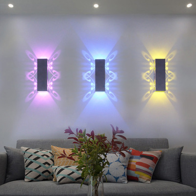 现代酒店ktv蝴蝶壁灯七彩变光创意卧室客厅床头简约装饰墙壁灯具
