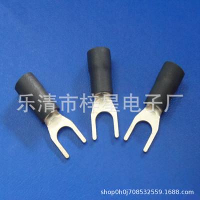 优质SV3.5-5叉形冷压接线端子 U型Y型铜鼻子端头 彩色环保护套管