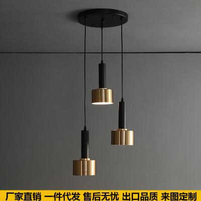 北欧极简床头灯具创意后现代吧台过道服装店装饰网红餐厅三头吊灯
