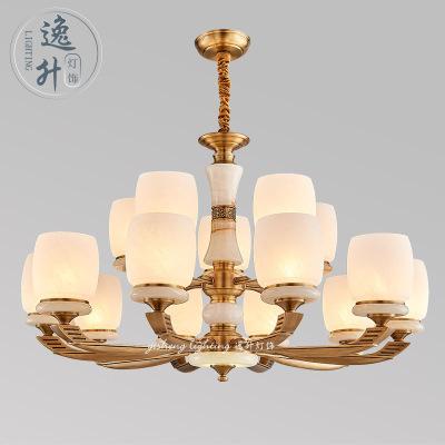 全铜灯轻奢客厅吊灯大气别墅餐厅灯简约样板房灯展厅装饰玉石灯具