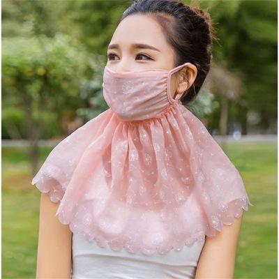 防晒口罩女夏季薄款护颈护脖透气遮阳面罩骑行面纱可清洗易呼吸