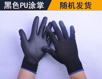 透气黑白五指便宜园艺防烫优质单只手套劳保耐磨工作薄款黑色矿业
