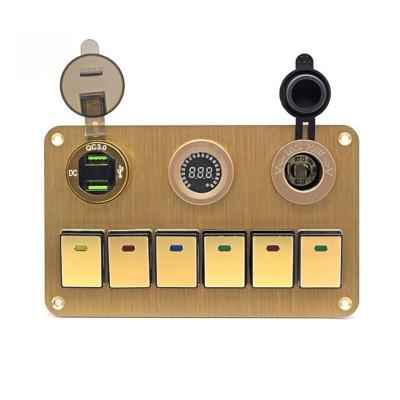 汽车驾驶室 吧台控制面板组合开关 +双USB+彩屏电压表+取电母座 H