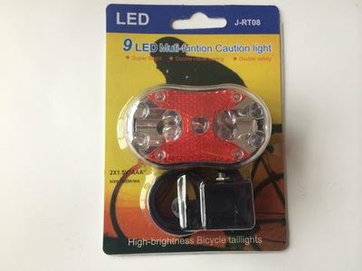 内凹型9LED尾灯 自行车尾灯 单车安全警示灯