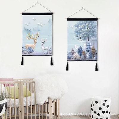 北欧装饰画背景墙挂布麋鹿组合挂画背景布电表箱遮挡布布艺挂画