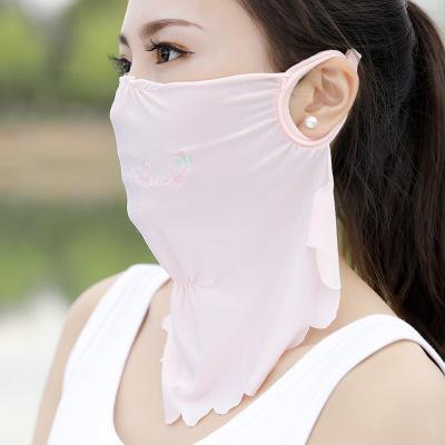 韩版冰丝防晒口罩女夏季防紫外线薄款加大防尘护颈透气易呼吸面罩