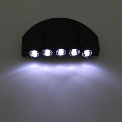 厂家直销 5LED夹帽檐灯帽子灯 夜钓夜跑夜骑安全警示照明头灯