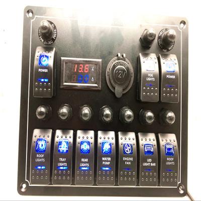房车汽车轮船驾驶室控制组合开关 多功能组合开关带母座电压表HH