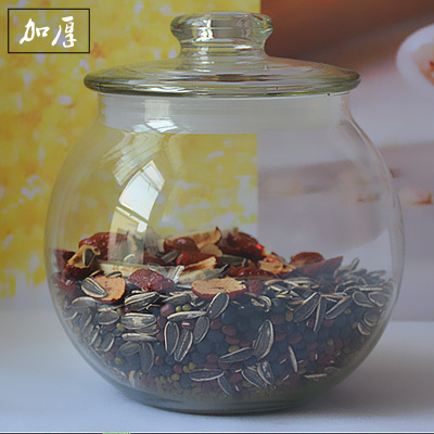 圆形无铅杂粮玻璃储物罐厨房收纳瓶透明食品中药材1个罐玻璃瓶子