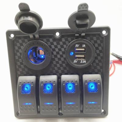 厂家热销 塑胶面板组合开关汽车游艇控制室组合开关+双USB电压表H